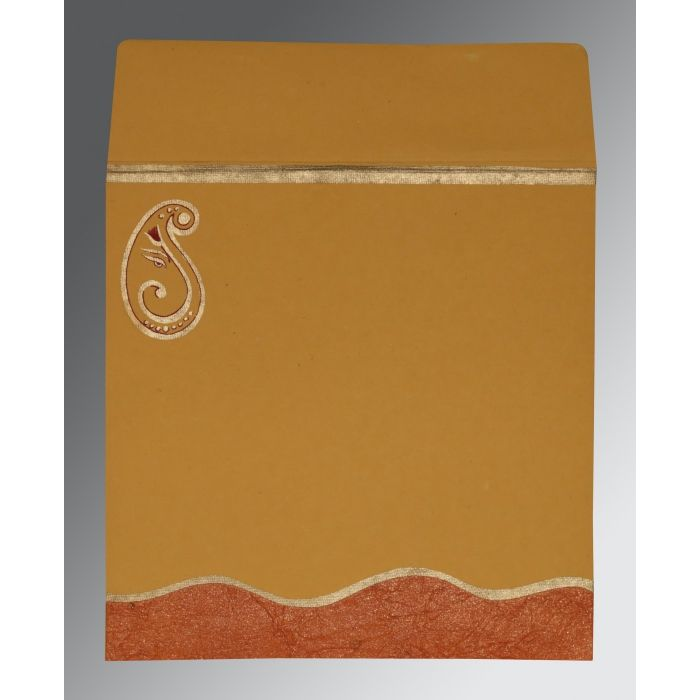 DARK RED ORANGE HANDMADE SHIMMER EMBOSSED WEDDING CARD : CW-2248 - IndianWeddingCards