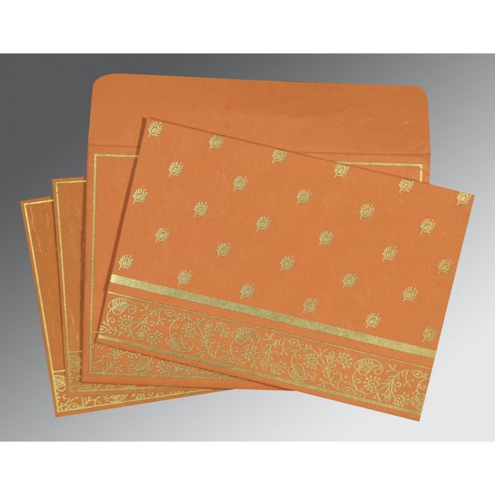 BURNT ORANGE HANDMADE SILK SCREEN PRINTED WEDDING CARD : IN-8215L - 123WeddingCards