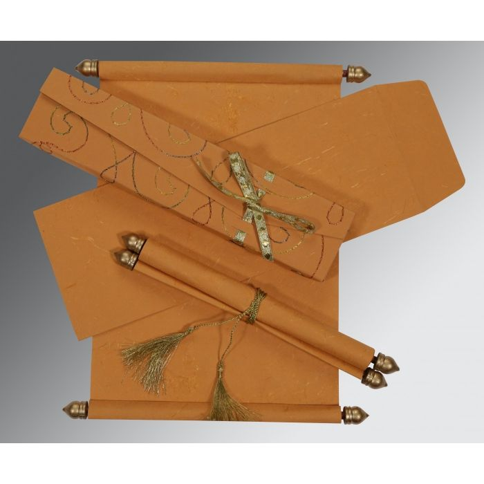 COPPER HANDMADE SILK WEDDING CARD : CSC-5002L - IndianWeddingCards