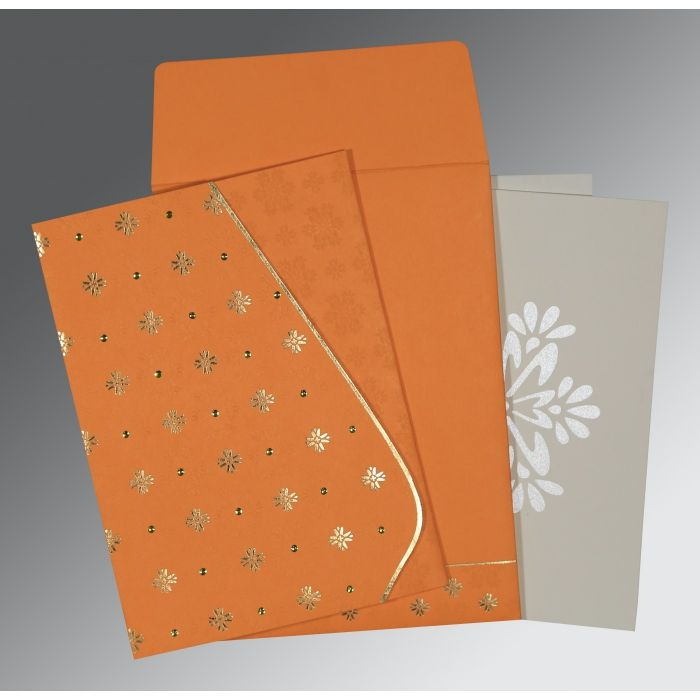 RAW SIENNA MATTE FLORAL THEMED - FOIL STAMPED WEDDING INVITATION : CW-8237K - IndianWeddingCards