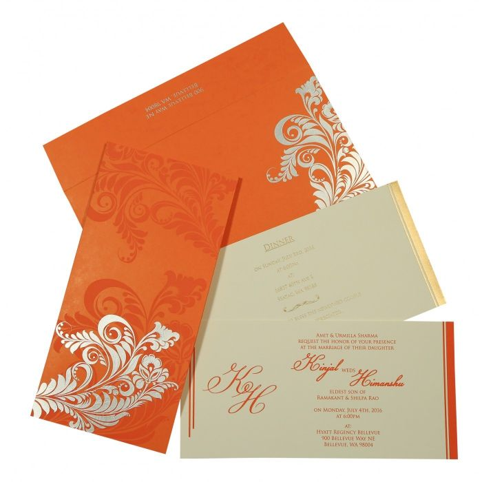 VIVID ORANGE MATTE FLORAL THEMED - SCREEN PRINTED WEDDING CARD : C-8259D - 123WeddingCards