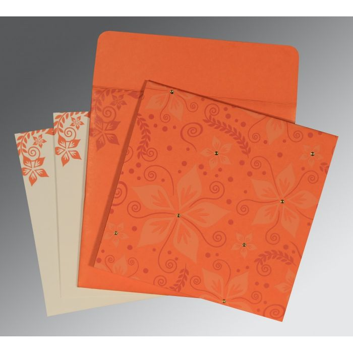 ORANGE MATTE FLORAL THEMED - SCREEN PRINTED WEDDING INVITATION : CD-8240M - IndianWeddingCards