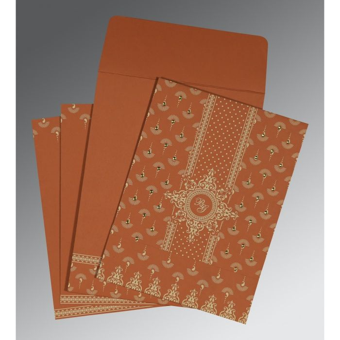 BURNT ORANGE MATTE SCREEN PRINTED WEDDING INVITATION : CS-8247F - IndianWeddingCards