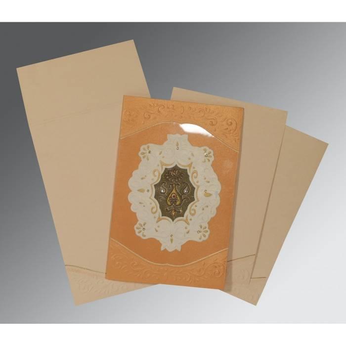 LIGHT ORANGE SHIMMERY BOX THEMED - EMBOSSED WEDDING INVITATION : CRU-1367 - IndianWeddingCards