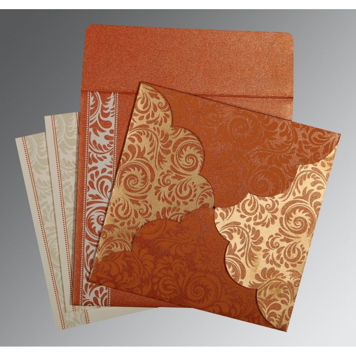 ORANGE SHIMMERY FLORAL THEMED - SCREEN PRINTED WEDDING CARD : CD-8235G - IndianWeddingCards