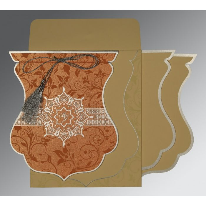METALLIC ORANGE SHIMMERY FLORAL THEMED - SCREEN PRINTED WEDDING CARD : CIN-8229I - IndianWeddingCards