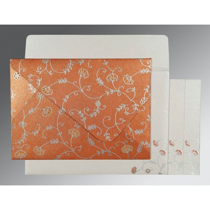 PEACH SHIMMERY FLORAL THEMED - SCREEN PRINTED WEDDING INVITATION : CIN-8248E - IndianWeddingCards