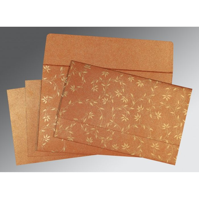 BURNT ORANGE SHIMMERY FLORAL THEMED - SCREEN PRINTED WEDDING INVITATION : CS-8226E - IndianWeddingCards