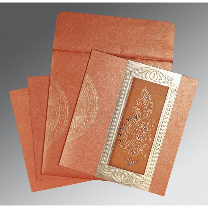 BURNT ORANGE SHIMMERY PAISLEY THEMED - FOIL STAMPED WEDDING INVITATION : CIN-8230T - IndianWeddingCards