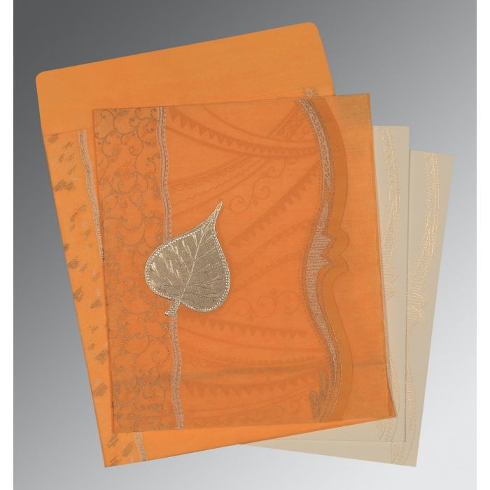 LIGHT ORANGE SHIMMERY EMBOSSED WEDDING CARD : D-8210L - 123WeddingCards