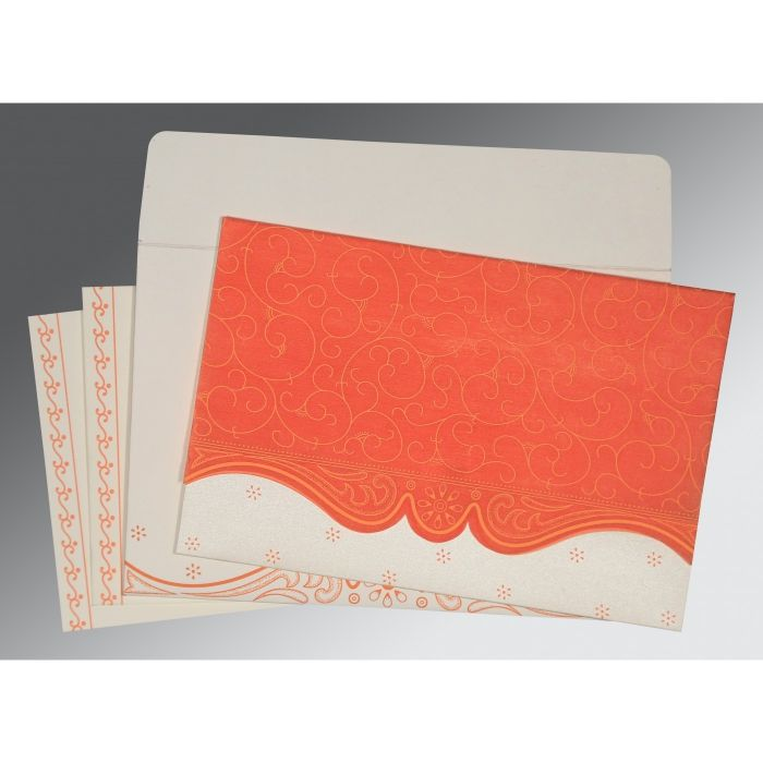 SALMON MATTE EMBOSSED WEDDING INVITATION : CG-8221L - IndianWeddingCards