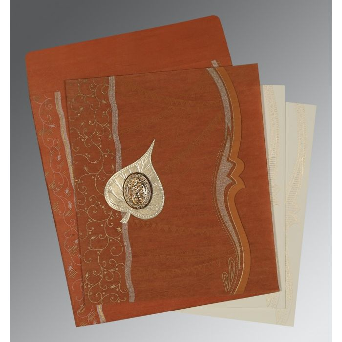 BURNT ORANGE SHIMMERY EMBOSSED WEDDING CARD : CI-8210D - IndianWeddingCards