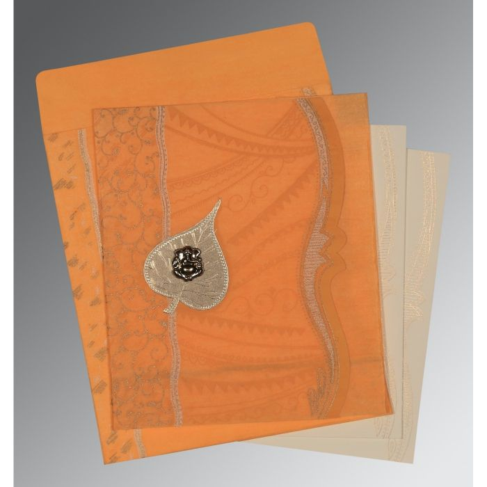 LIGHT ORANGE SHIMMERY EMBOSSED WEDDING CARD : IN-8210L - 123WeddingCards