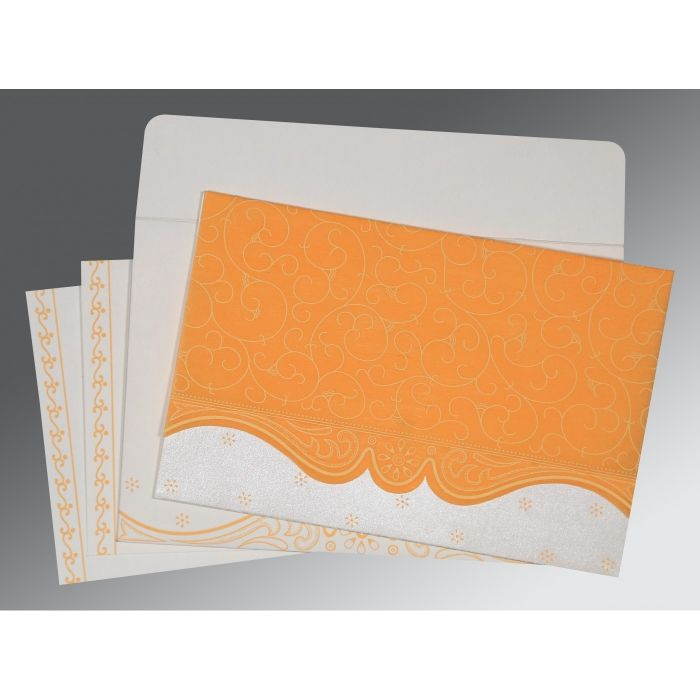 VIVID ORANGE MATTE EMBOSSED WEDDING INVITATION : CIN-8221F - IndianWeddingCards