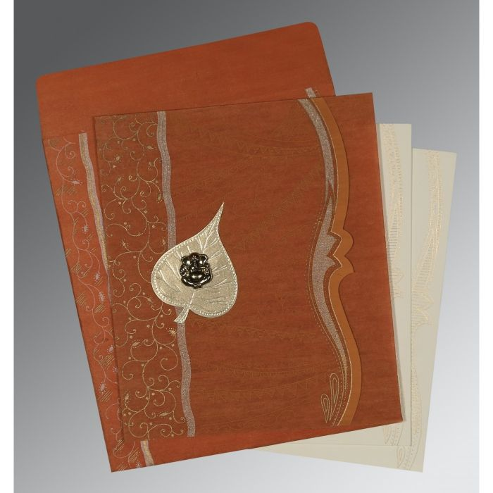 BURNT ORANGE SHIMMERY EMBOSSED WEDDING CARD : CW-8210D - IndianWeddingCards