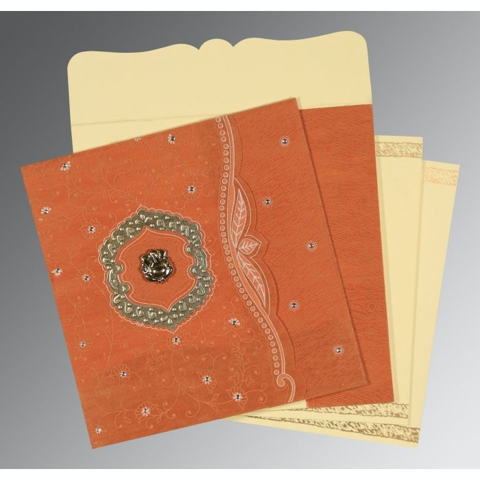 BURNT ORANGE SHIMMERY FLORAL THEMED - EMBOSSED WEDDING CARD : IN-8209D - 123WeddingCards