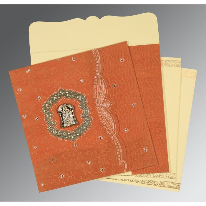 BURNT ORANGE SHIMMERY FLORAL THEMED - EMBOSSED WEDDING CARD : SO-8209D - 123WeddingCards