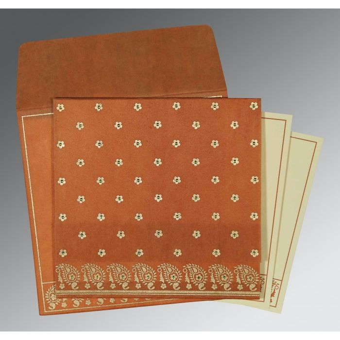 BURNT ORANGE WOOLY FLORAL THEMED - SCREEN PRINTED WEDDING CARD : CD-8218C - IndianWeddingCards