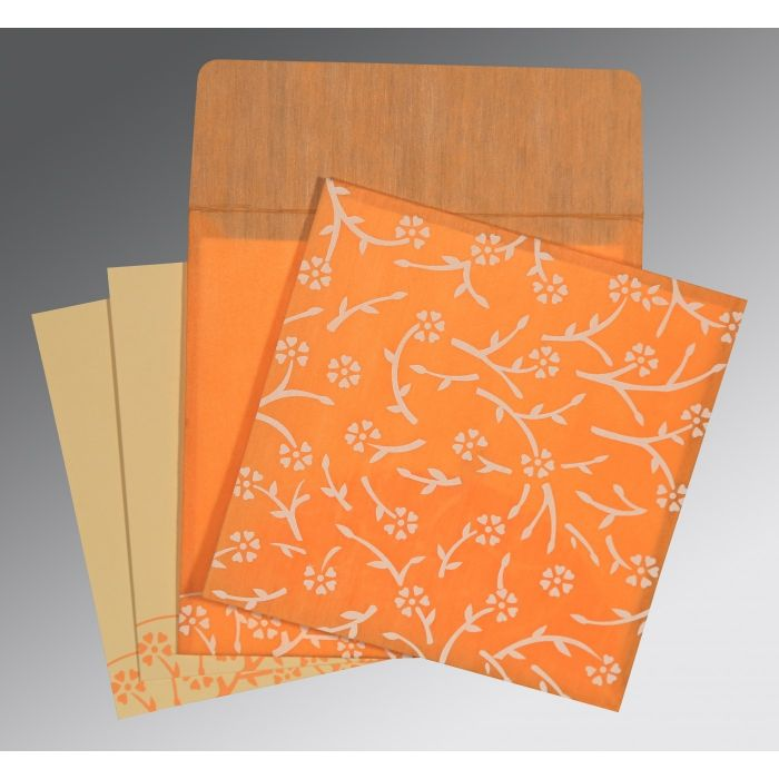 LIGHT ORANGE WOOLY FLORAL THEMED - SCREEN PRINTED WEDDING INVITATION : I-8216O - 123WeddingCards