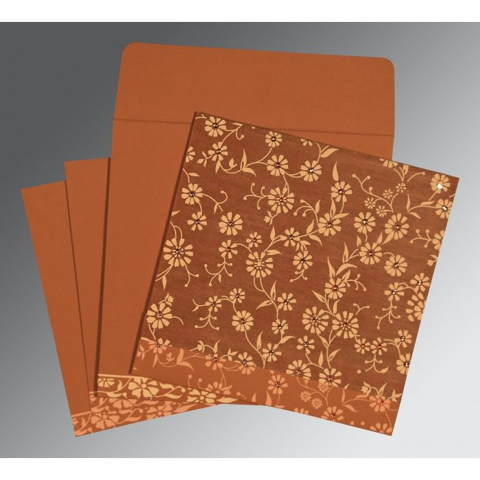 BURNT ORANGE MATTE FLORAL THEMED - SCREEN PRINTED WEDDING CARD : CW-8222H - IndianWeddingCards