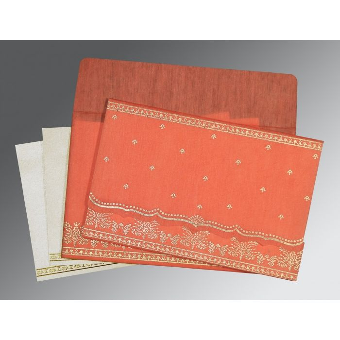 CORAL WOOLY FOIL STAMPED WEDDING INVITATION : CG-8241K - IndianWeddingCards