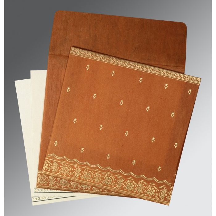 BURNT ORANGE WOOLY FOIL STAMPED WEDDING CARD : CS-8242E - IndianWeddingCards