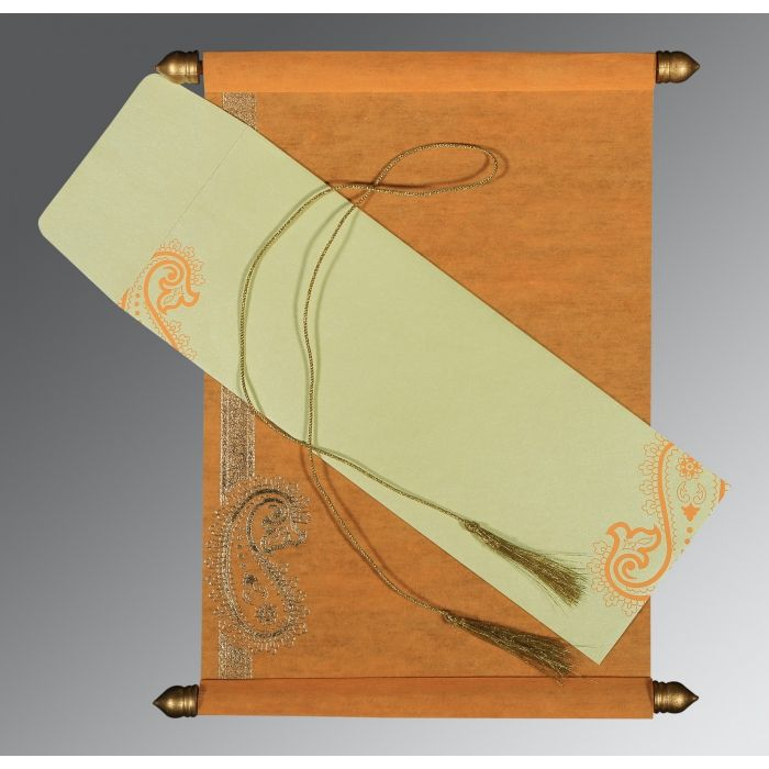 LIGHT ORANGE WOOLY FOIL STAMPED WEDDING CARD : SC-5015J - 123WeddingCards