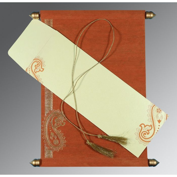 BURNT ORANGE WOOLY FOIL STAMPED WEDDING CARD : SC-5015K - 123WeddingCards