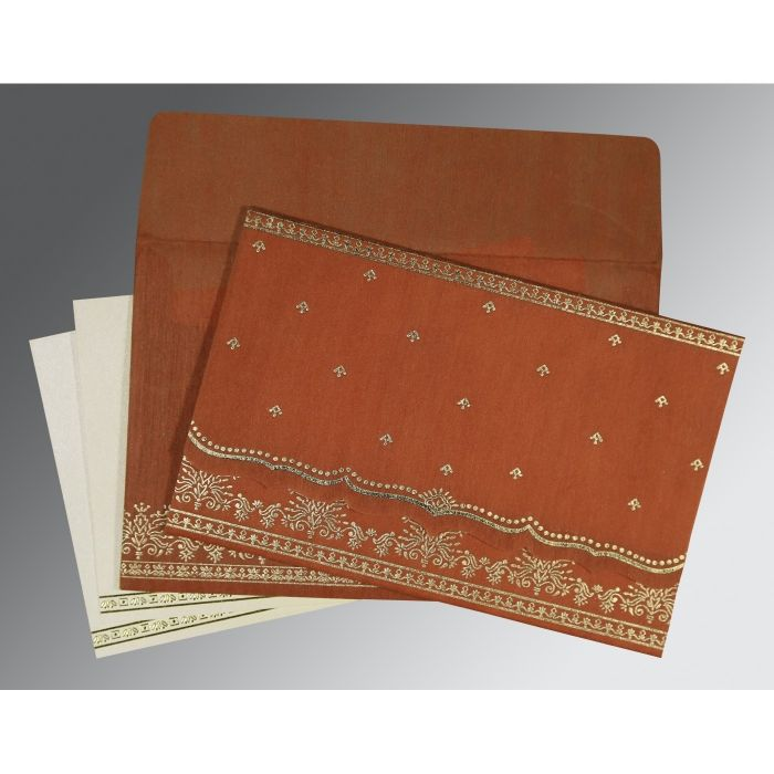 BURNT ORANGE WOOLY FOIL STAMPED WEDDING INVITATION : CSO-8241M - IndianWeddingCards