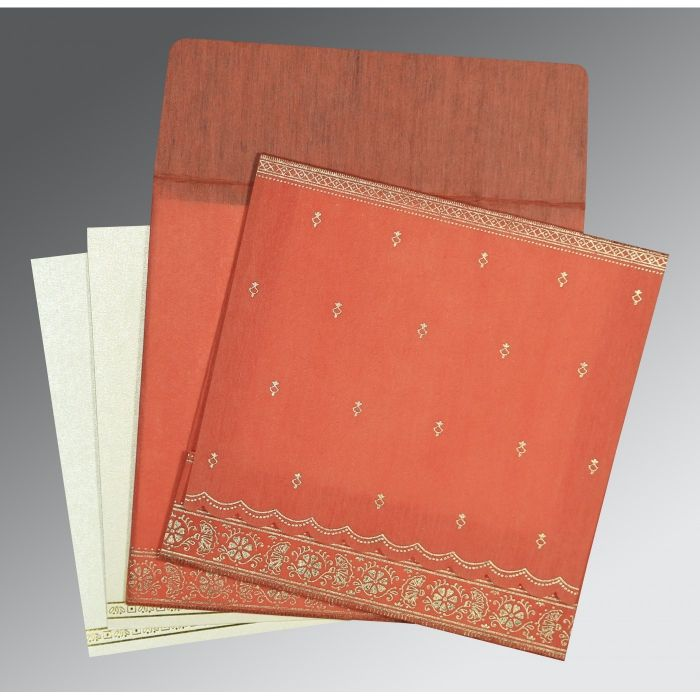 CORAL WOOLY FOIL STAMPED WEDDING CARD : CW-8242I - IndianWeddingCards