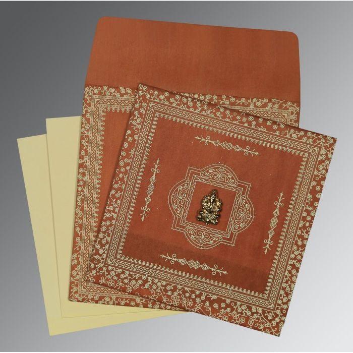 BURNT ORANGE WOOLY GLITTER WEDDING CARD : CW-8205C - IndianWeddingCards