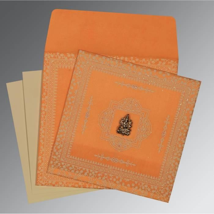 ORANGE WOOLY GLITTER WEDDING CARD : W-8205H - 123WeddingCards