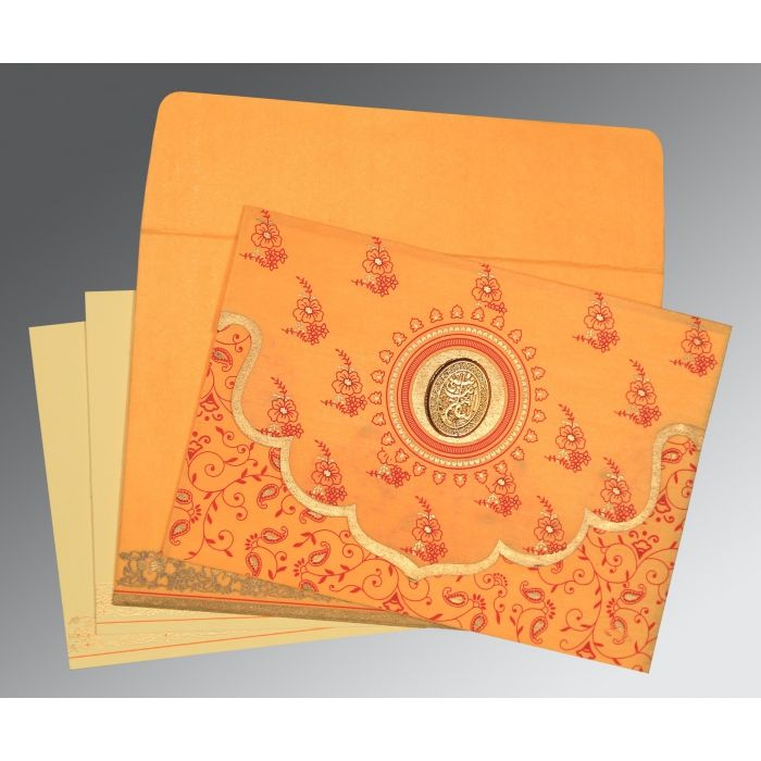 SOFT ORANGE WOOLY SCREEN PRINTED WEDDING INVITATION : CI-8207J - IndianWeddingCards