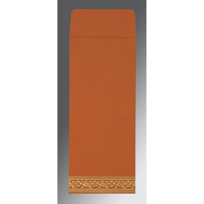 BURNT ORANGE WOOLY SCREEN PRINTED WEDDING INVITATION : CI-8220C - IndianWeddingCards