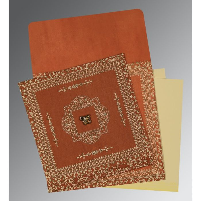 BURNT ORANGE WOOLY SCREEN PRINTED WEDDING CARD : C-RU-1050 - IndianWeddingCards