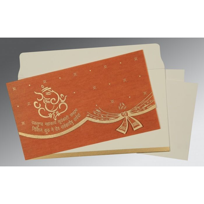 BURNT ORANGE WOOLY SCREEN PRINTED WEDDING CARD : W-0196 - 123WeddingCards