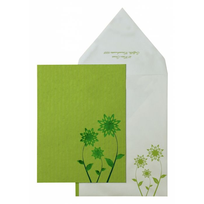 PARROT GREEN HANDMADE COTTON FLORAL THEMED - SCREEN PRINTED PARTY CARDS : PY-888 - 123WeddingCards