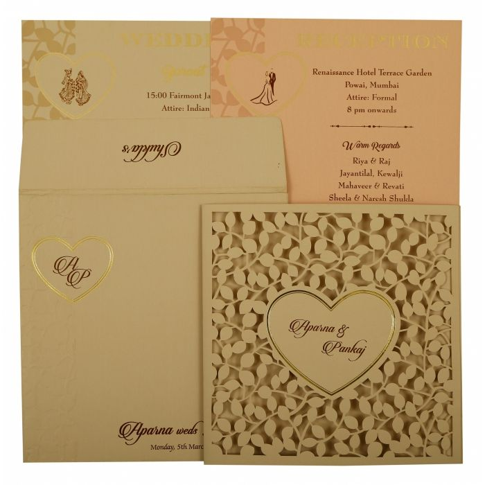 PEACH MATTE FLORAL THEMED - LASER CUT WEDDING INVITATION : I-1927 - 123WeddingCards