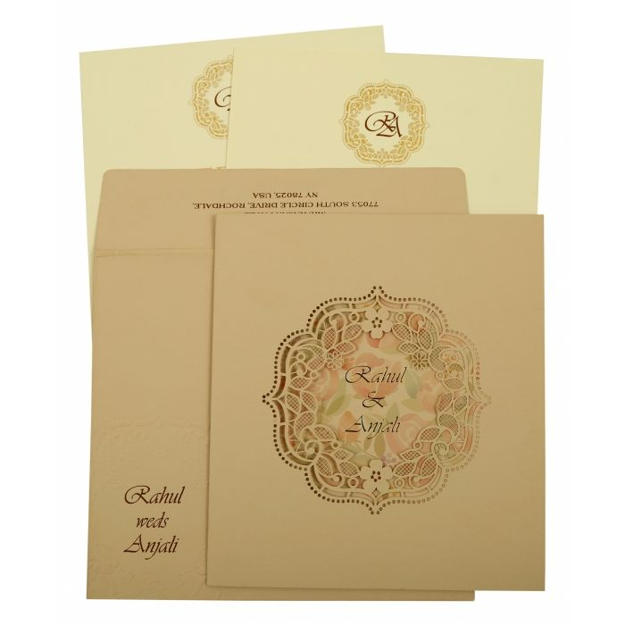 PEACH MATTE LASER CUT WEDDING INVITATION : CG-1857 - IndianWeddingCards