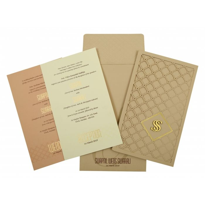 PEACH MATTE LASER CUT WEDDING INVITATION : IN-1840 - 123WeddingCards