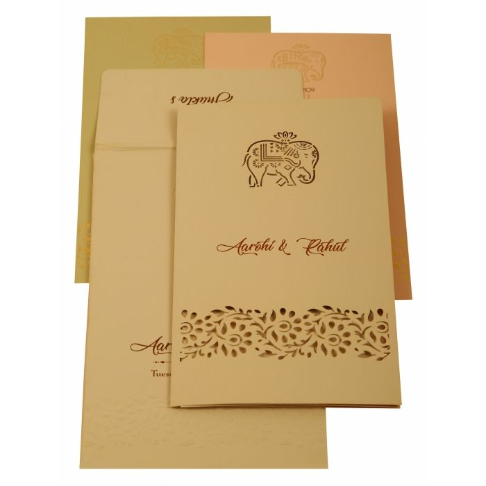 PEACH MATTE LASER CUT WEDDING INVITATION : CIN-1923 - IndianWeddingCards