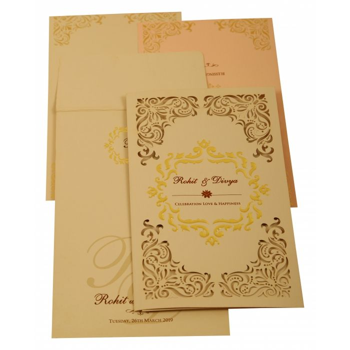 PEACH MATTE LASER CUT WEDDING INVITATION : CW-1909 - IndianWeddingCards