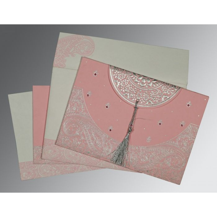 ENGLISH VIOLET HANDMADE COTTON EMBOSSED WEDDING CARD : D-8234G - 123WeddingCards