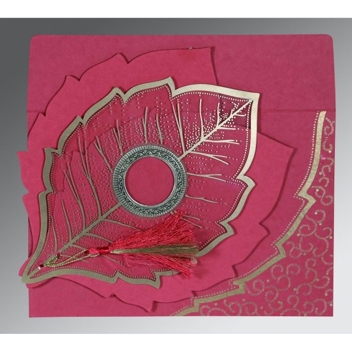 HOT PINK TRANSPARENT HANDMADE COTTON FLORAL THEMED - FOIL STAMPED WEDDING CARD : CW-8219F - IndianWeddingCards