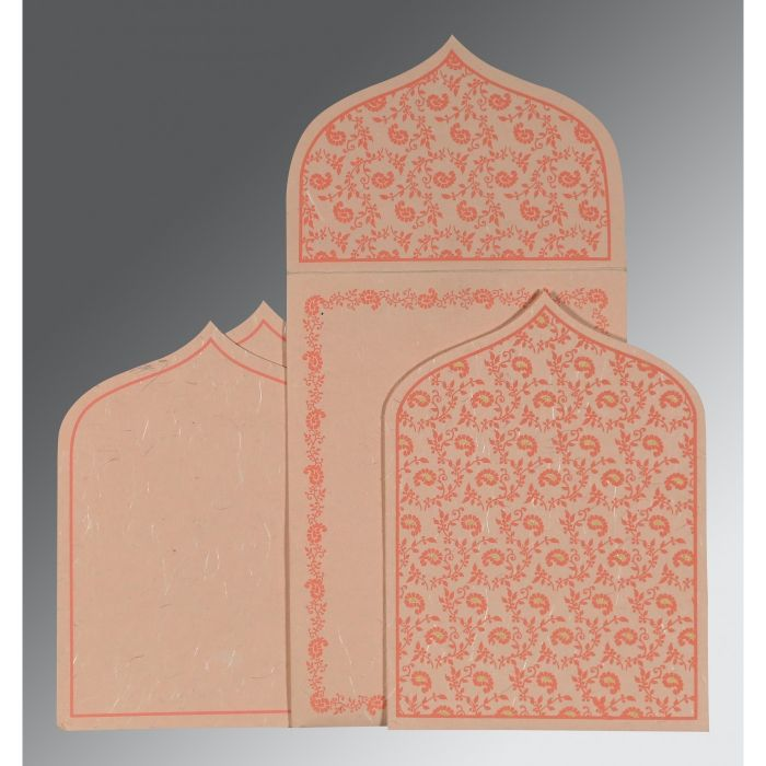 PEACH HANDMADE SILK PAISLEY THEMED - GLITTER WEDDING INVITATION : CW-8208F - IndianWeddingCards