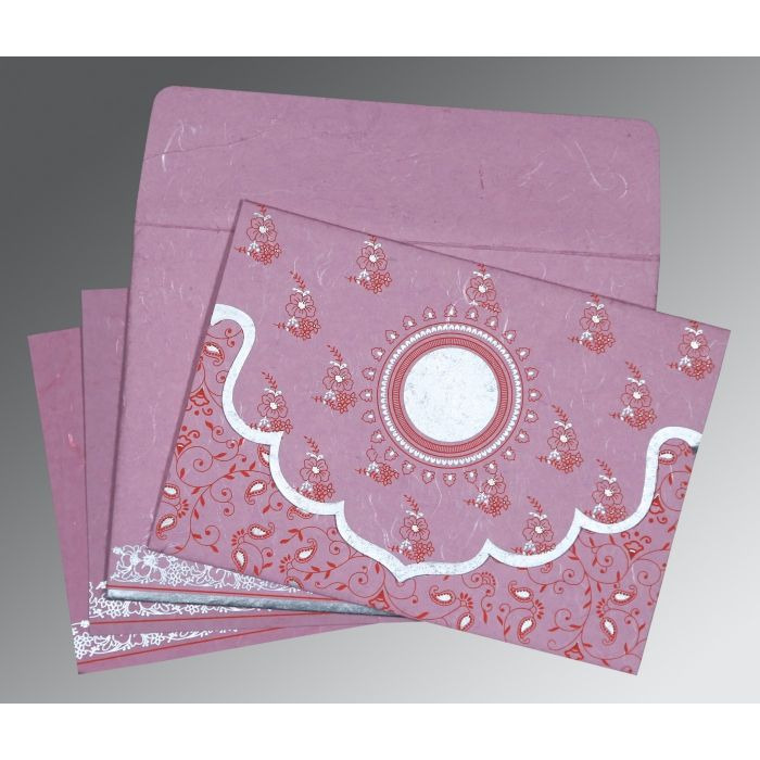 MAUVE PINK HANDMADE SILK SCREEN PRINTED WEDDING INVITATION : CD-8207K - IndianWeddingCards