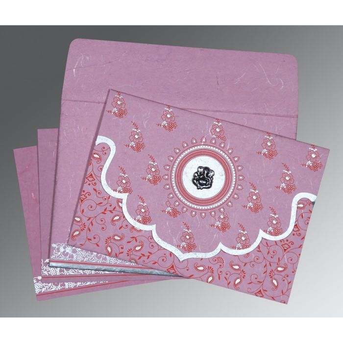 MAUVE PINK HANDMADE SILK SCREEN PRINTED WEDDING INVITATION : CIN-8207K - IndianWeddingCards