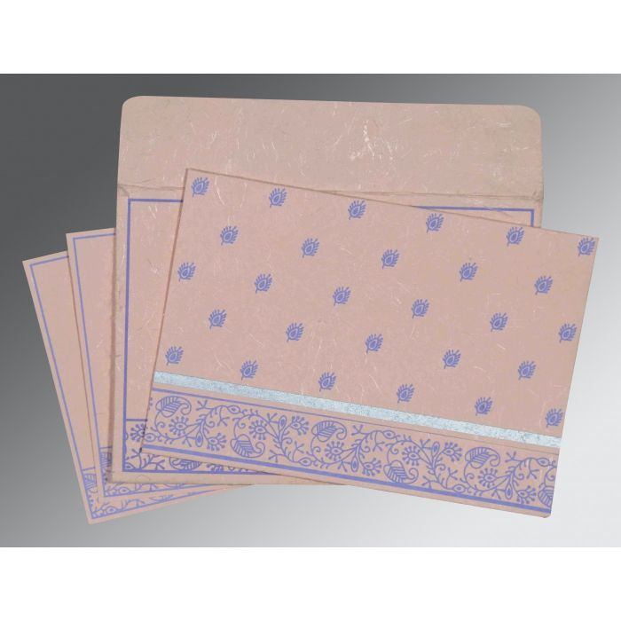 PEACH HANDMADE SILK SCREEN PRINTED WEDDING CARD : CS-8215M - IndianWeddingCards