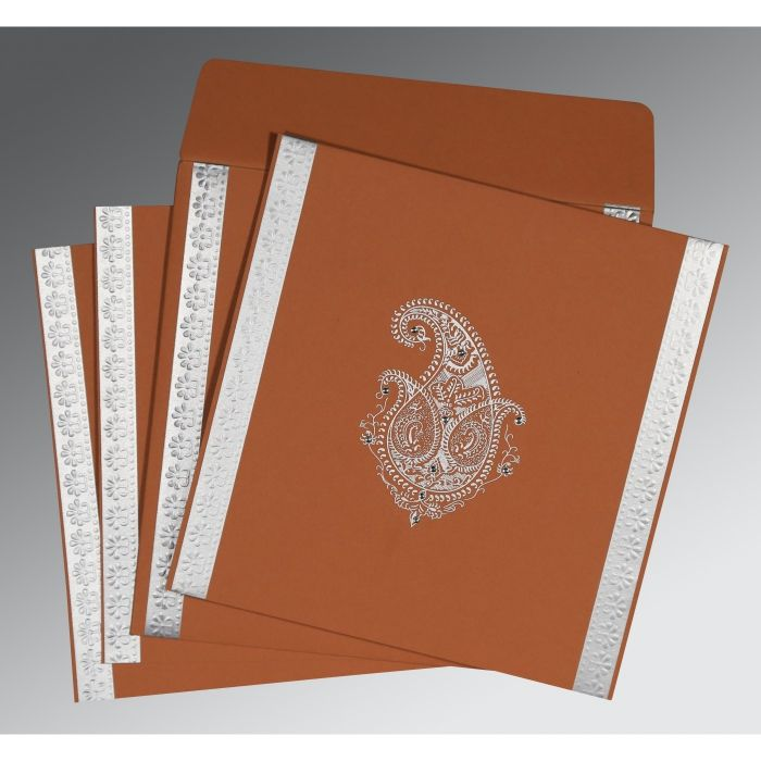 BROWN RUST MATTE PAISLEY THEMED - EMBOSSED WEDDING INVITATION : CSO-8231E - IndianWeddingCards