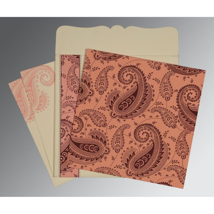 SWEET NECTAR MATTE PAISLEY THEMED - SCREEN PRINTED WEDDING CARD : CD-8250F - IndianWeddingCards